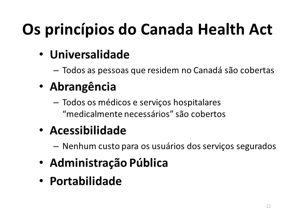 Os princípios do Canada Health Act