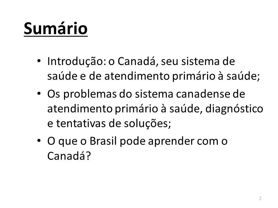 Sumário Introdução: o Canadá, seu sistema de saúde e de atendimento primário à saúde;