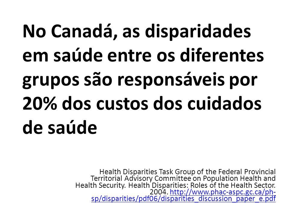 No Canadá, as disparidades em saúde entre os diferentes grupos são responsáveis por 20% dos custos dos cuidados de saúde