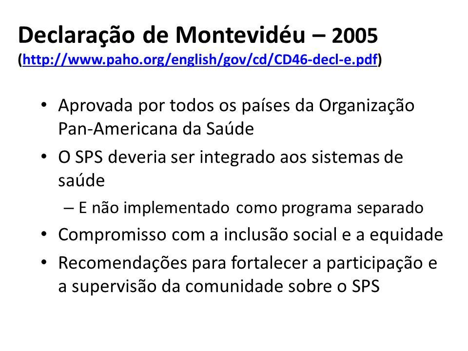 Declaração de Montevidéu – 2005 (http://www. paho
