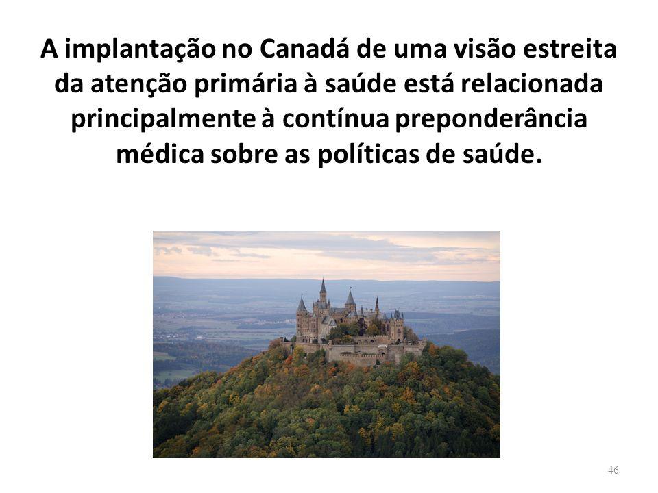 A implantação no Canadá de uma visão estreita da atenção primária à saúde está relacionada principalmente à contínua preponderância médica sobre as políticas de saúde.