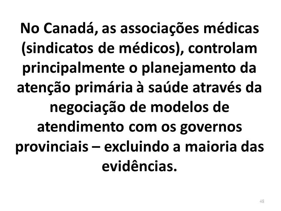 No Canadá, as associações médicas (sindicatos de médicos), controlam principalmente o planejamento da atenção primária à saúde através da negociação de modelos de atendimento com os governos provinciais – excluindo a maioria das evidências.