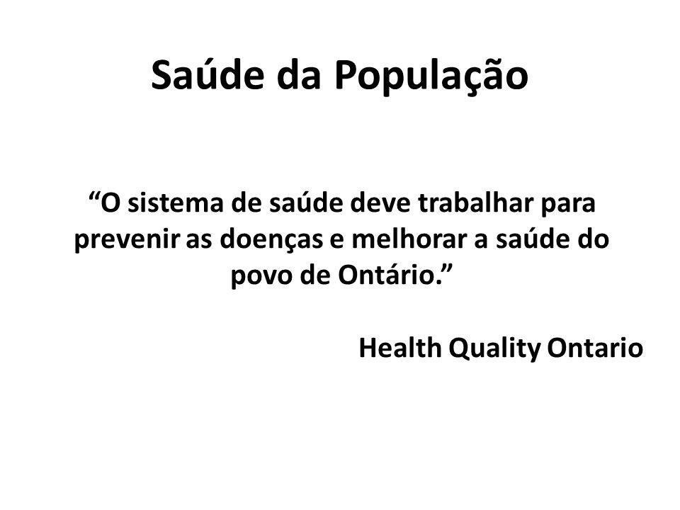 Saúde da População O sistema de saúde deve trabalhar para prevenir as doenças e melhorar a saúde do povo de Ontário.