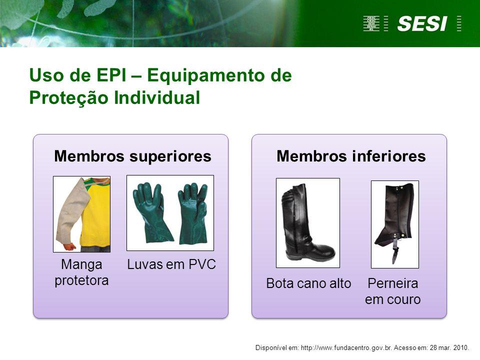 Uso de EPI – Equipamento de Proteção Individual