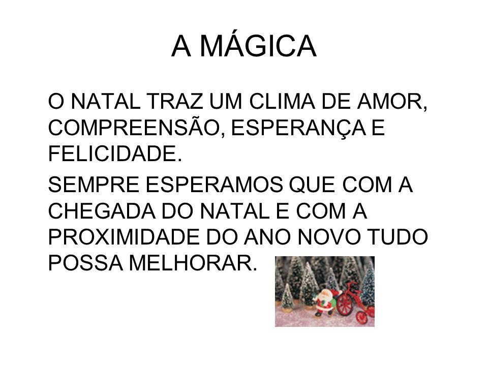 A MÁGICA O NATAL TRAZ UM CLIMA DE AMOR, COMPREENSÃO, ESPERANÇA E FELICIDADE.