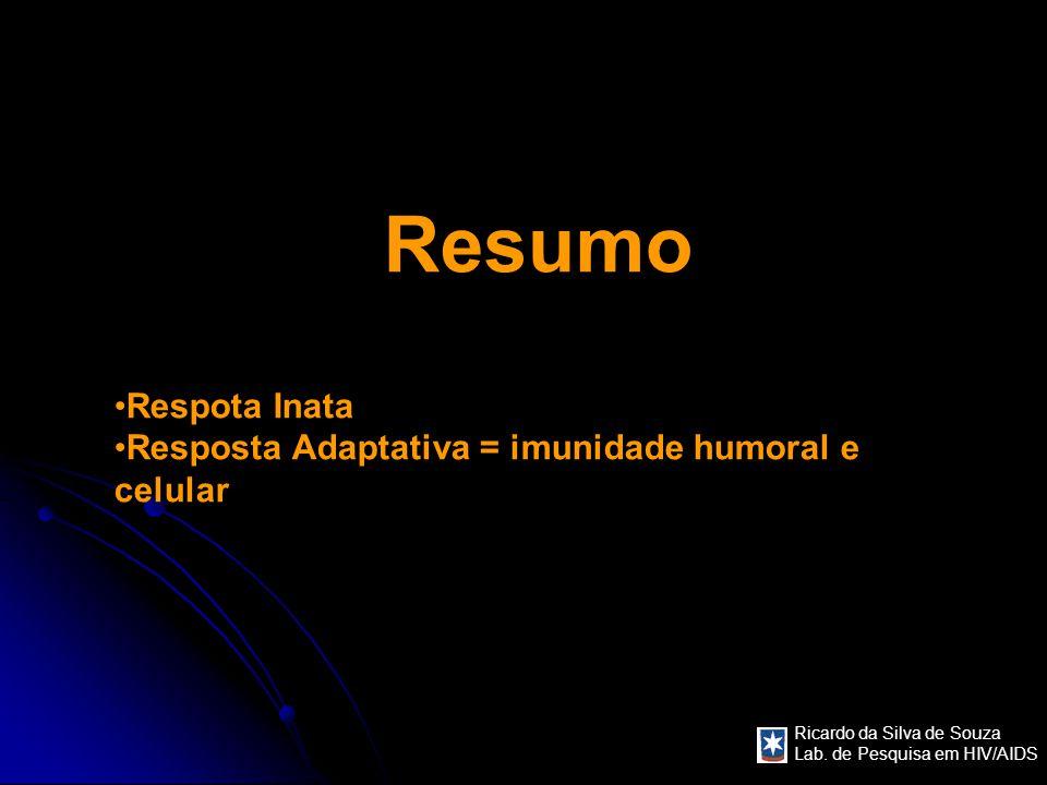 Resumo Respota Inata Resposta Adaptativa = imunidade humoral e celular