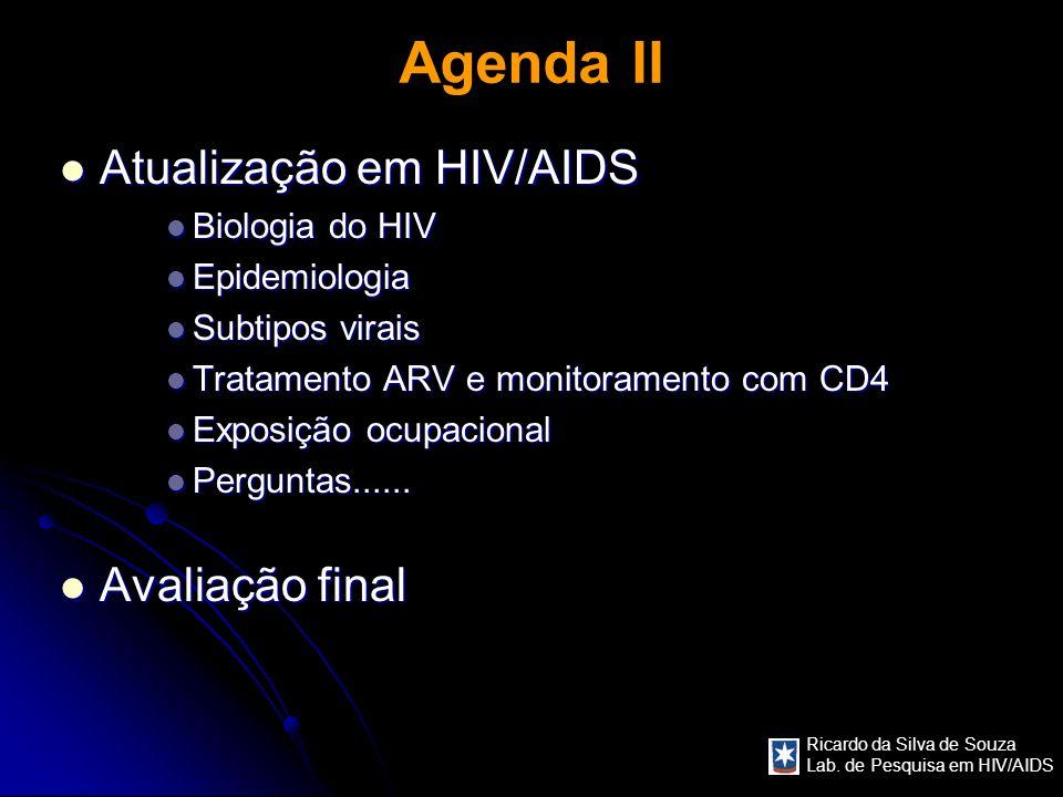 Agenda II Atualização em HIV/AIDS Avaliação final Biologia do HIV