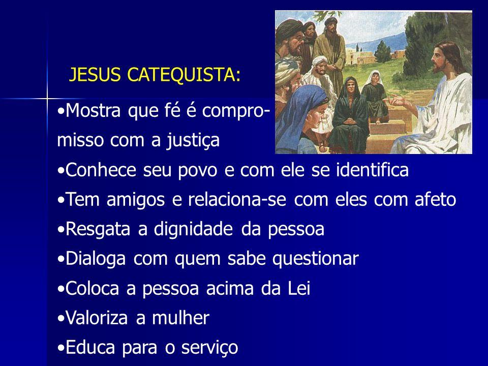 JESUS CATEQUISTA: Mostra que fé é compro- misso com a justiça. Conhece seu povo e com ele se identifica.