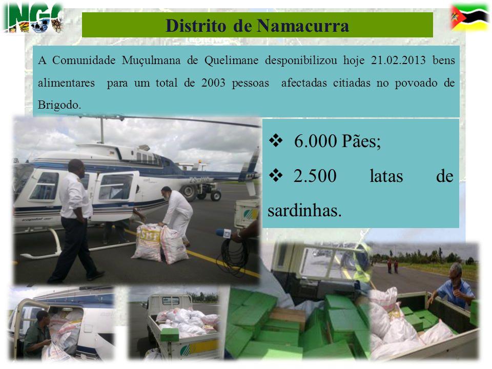 Distrito de Namacurra 6.000 Pães; 2.500 latas de sardinhas.