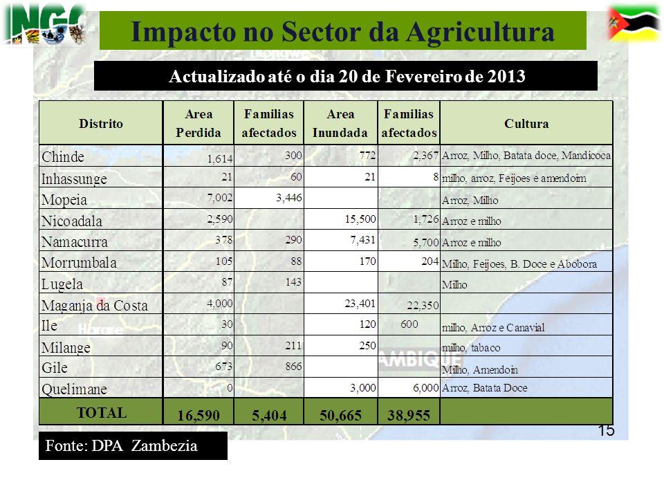 Impacto no Sector da Agricultura