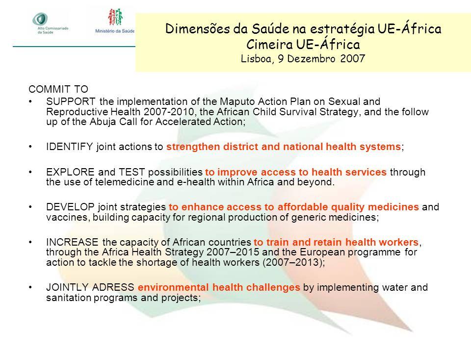 Dimensões da Saúde na estratégia UE-África Cimeira UE-África Lisboa, 9 Dezembro 2007