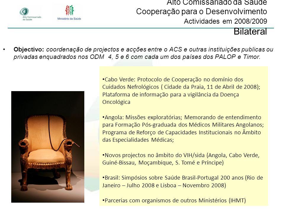 Alto Comissariado da Saúde Cooperação para o Desenvolvimento Actividades em 2008/2009 Bilateral
