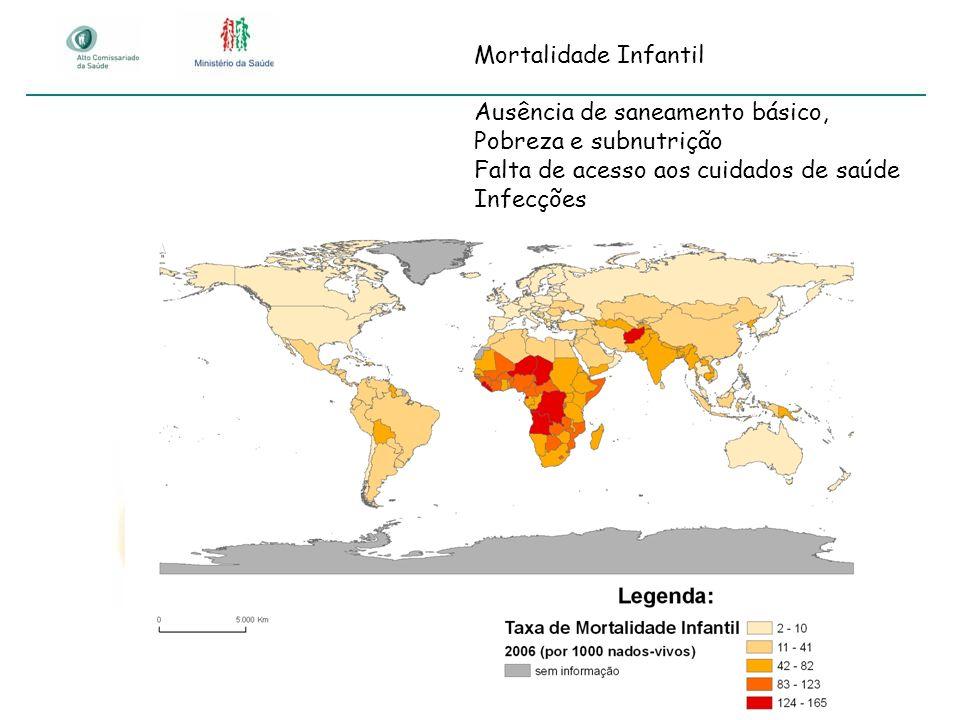 Mortalidade Infantil Ausência de saneamento básico, Pobreza e subnutrição. Falta de acesso aos cuidados de saúde.
