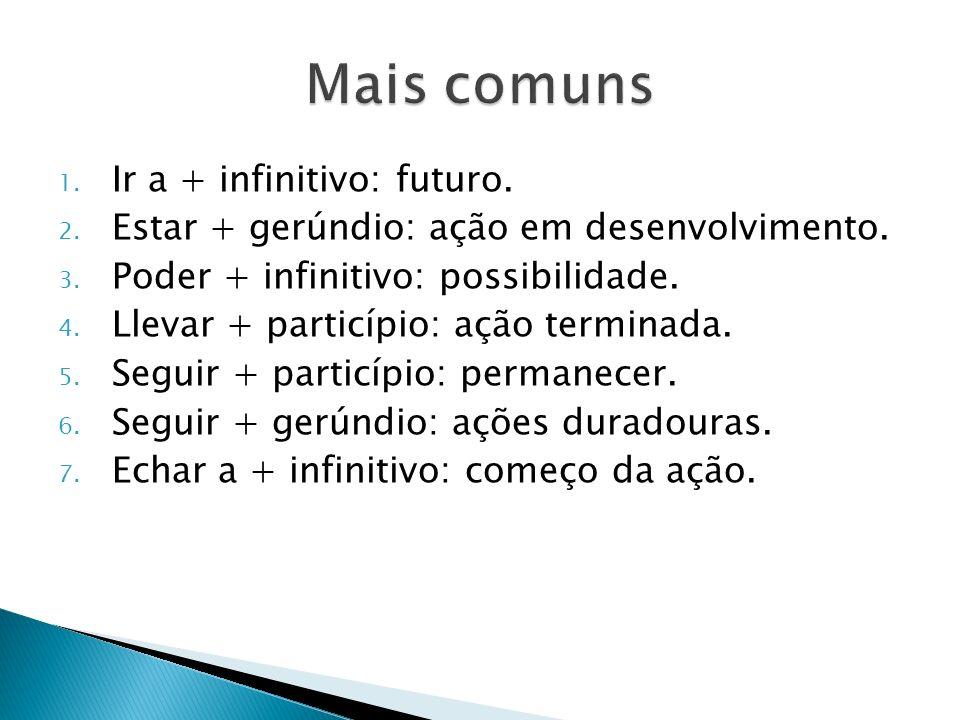 Mais comuns Ir a + infinitivo: futuro.