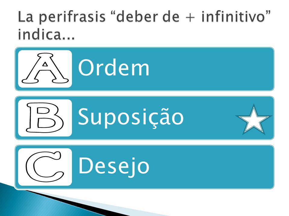 La perifrasis deber de + infinitivo indica...