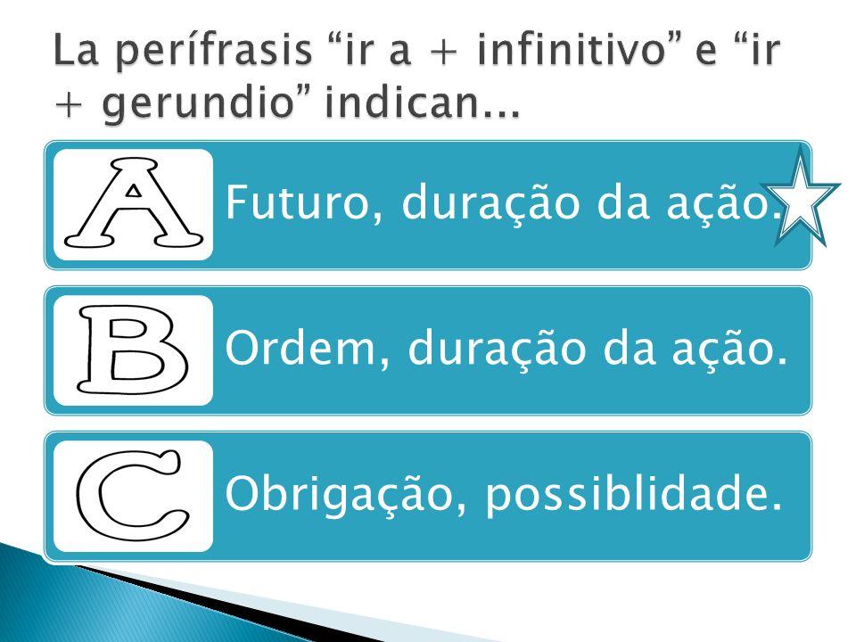 La perífrasis ir a + infinitivo e ir + gerundio indican...