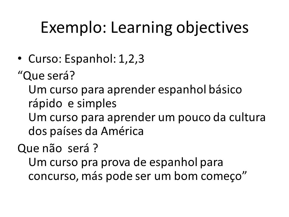 Exemplo: Learning objectives