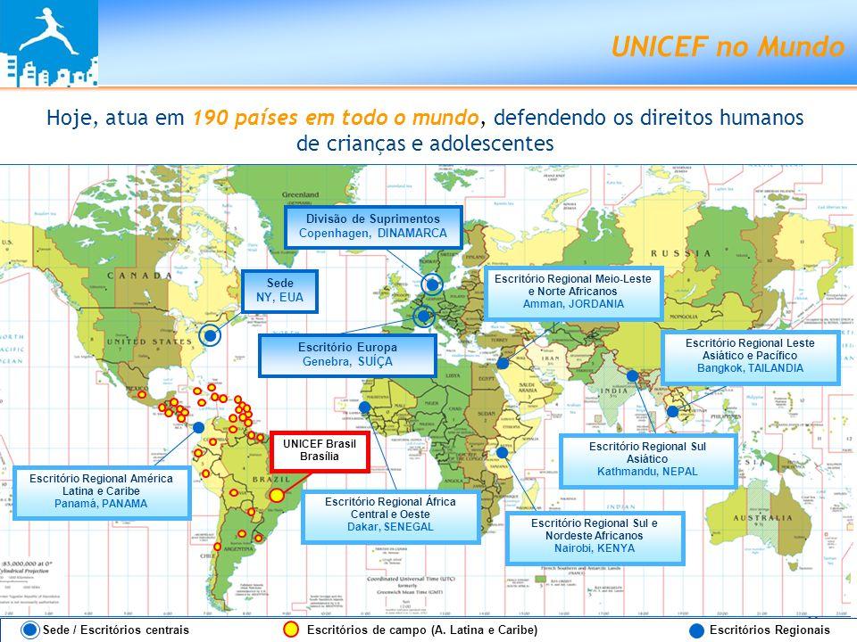 UNICEF no Mundo Hoje, atua em 190 países em todo o mundo, defendendo os direitos humanos de crianças e adolescentes.