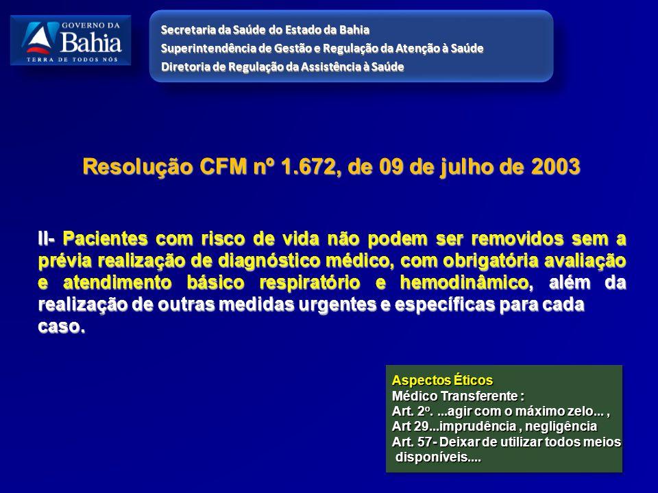 Resolução CFM nº 1.672, de 09 de julho de 2003