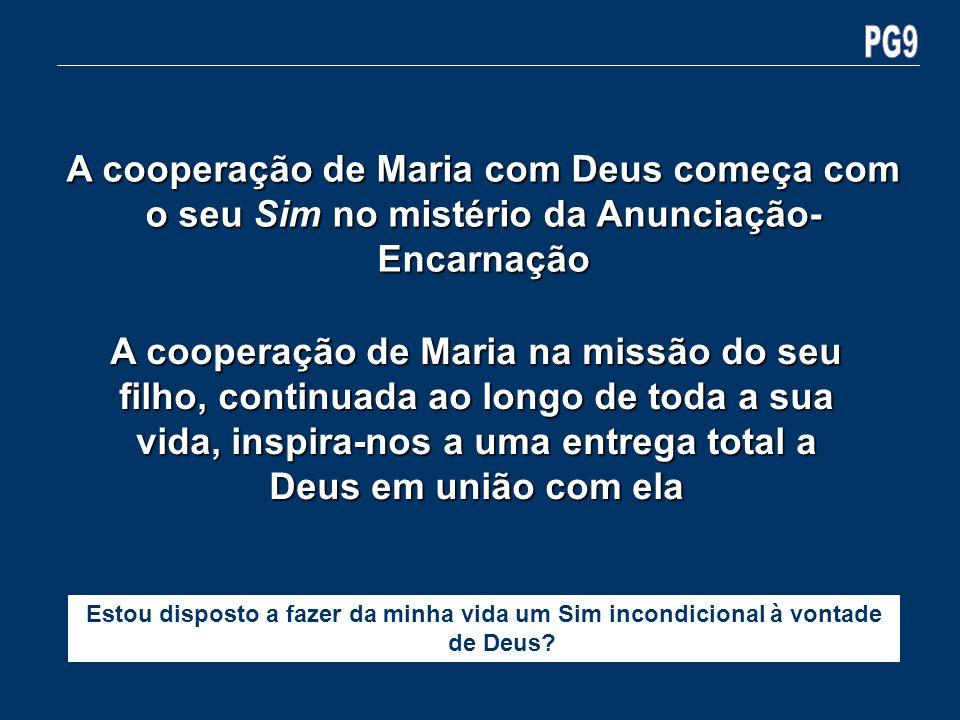 PG9A cooperação de Maria com Deus começa com o seu Sim no mistério da Anunciação-Encarnação.