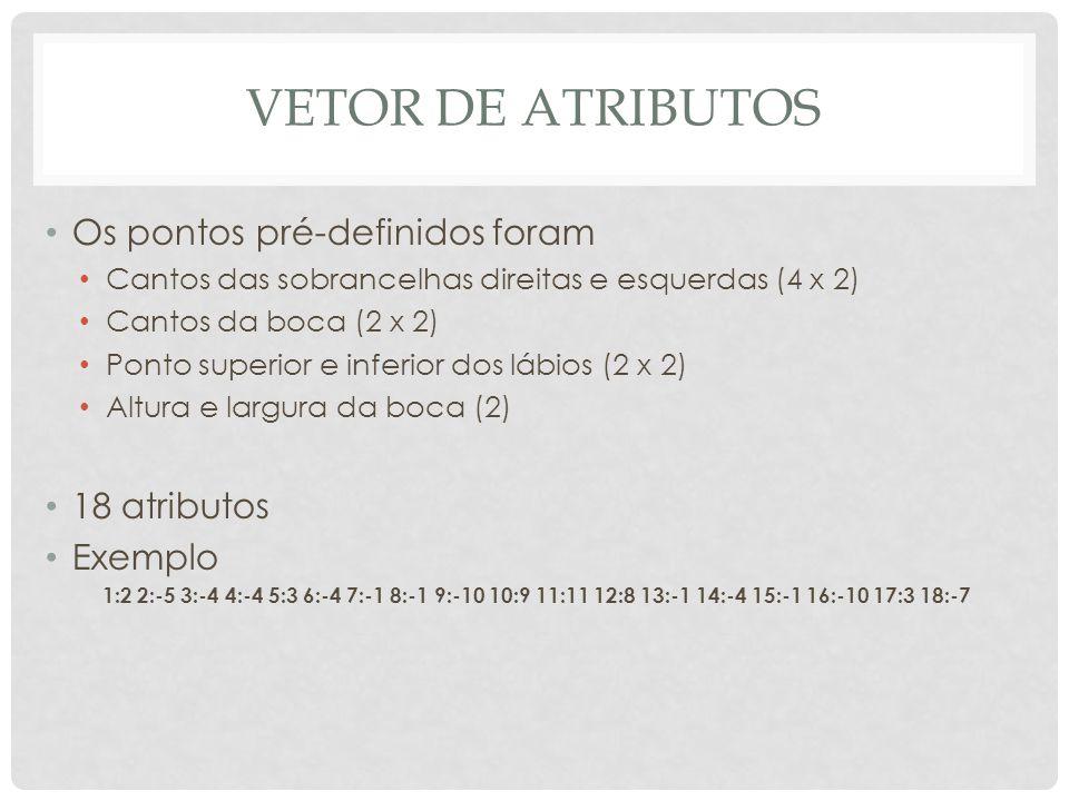 Vetor de atributos Os pontos pré-definidos foram 18 atributos Exemplo