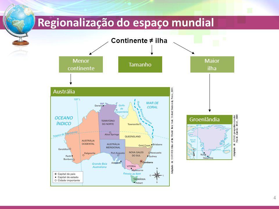 Continente ≠ ilha Menor continente Tamanho Maior ilha Austrália