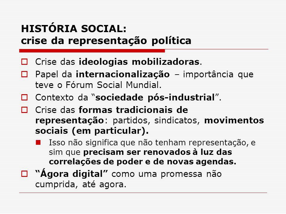 HISTÓRIA SOCIAL: crise da representação política
