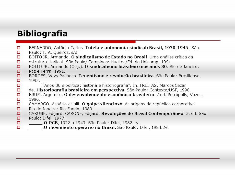 Bibliografia BERNARDO, Antônio Carlos. Tutela e autonomia sindical: Brasil, 1930-1945. São. Paulo: T. A. Queiroz, s/d.