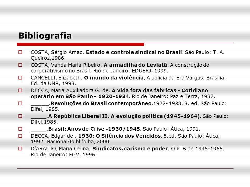 Bibliografia COSTA, Sérgio Amad. Estado e controle sindical no Brasil. São Paulo: T. A. Queiroz,1986.