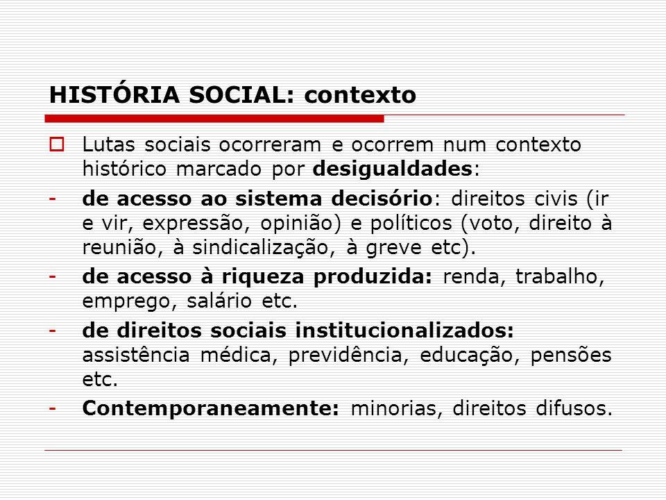 HISTÓRIA SOCIAL: contexto