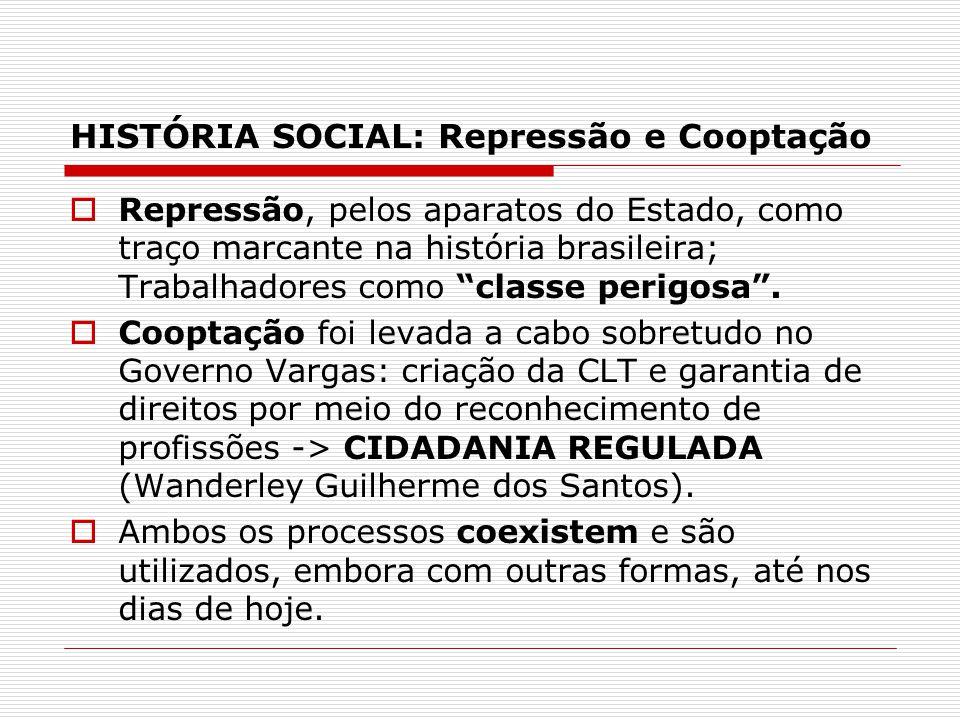 HISTÓRIA SOCIAL: Repressão e Cooptação