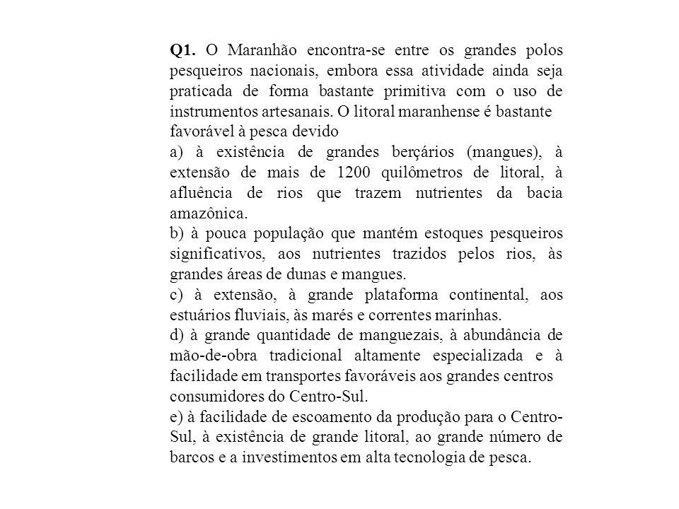 Q1. O Maranhão encontra-se entre os grandes polos pesqueiros nacionais, embora essa atividade ainda seja praticada de forma bastante primitiva com o uso de instrumentos artesanais. O litoral maranhense é bastante