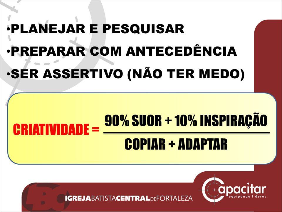 90% SUOR + 10% INSPIRAÇÃO CRIATIVIDADE = COPIAR + ADAPTAR
