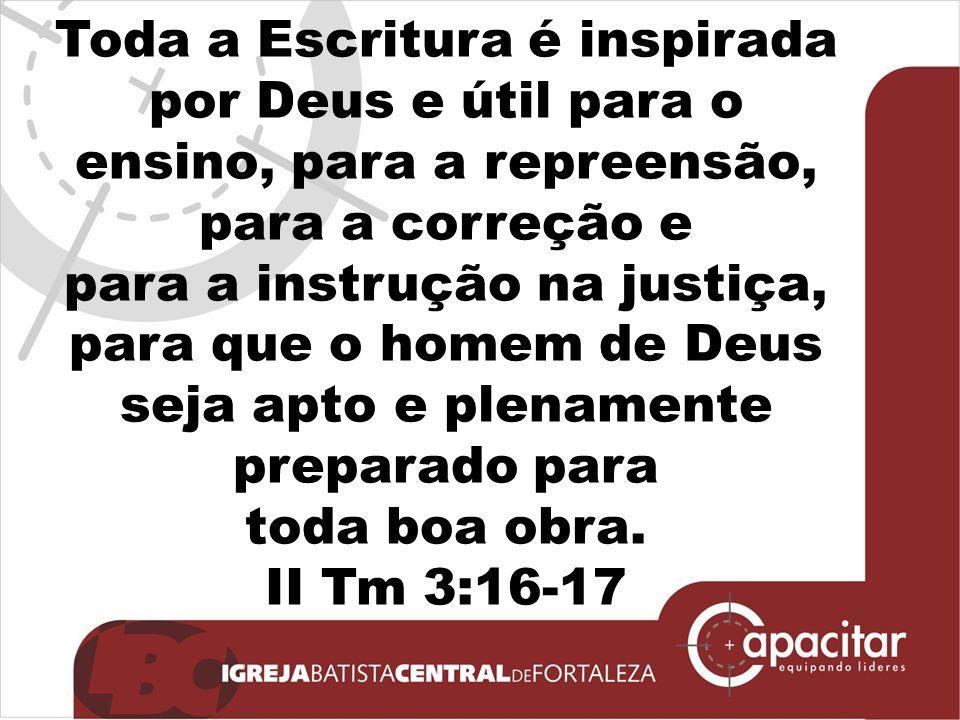 Toda a Escritura é inspirada por Deus e útil para o ensino, para a repreensão,