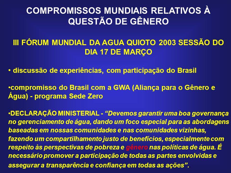 COMPROMISSOS MUNDIAIS RELATIVOS À QUESTÃO DE GÊNERO