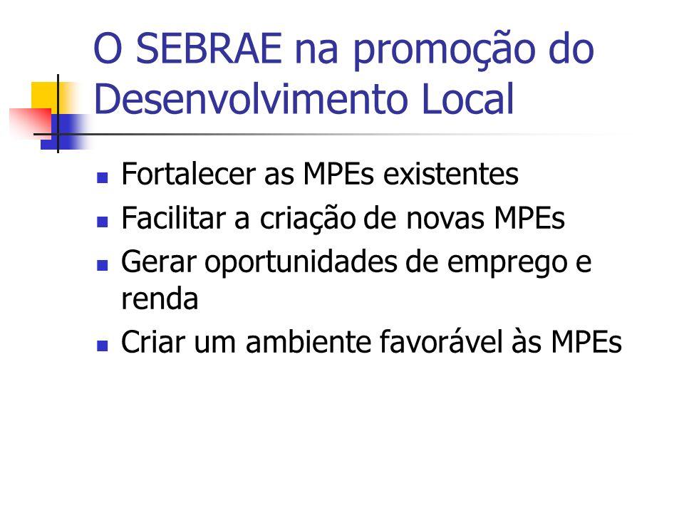 O SEBRAE na promoção do Desenvolvimento Local