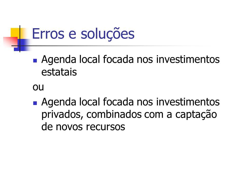 Erros e soluções Agenda local focada nos investimentos estatais ou