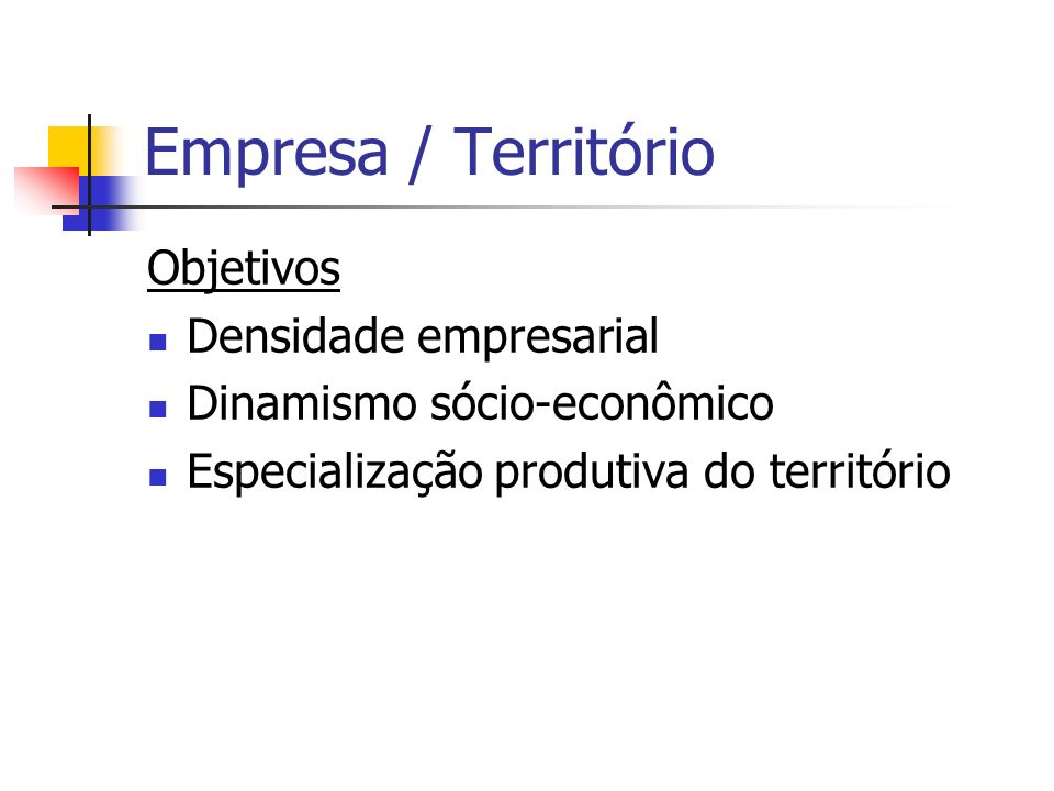 Empresa / Território Objetivos Densidade empresarial