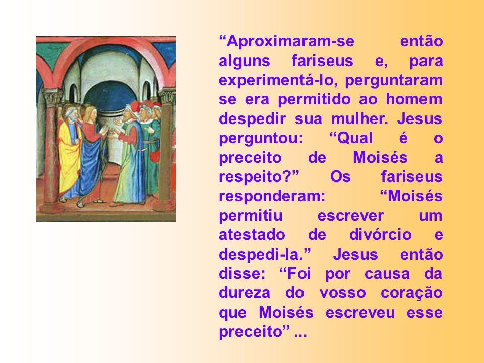 Aproximaram-se então alguns fariseus e, para experimentá-lo, perguntaram se era permitido ao homem despedir sua mulher.