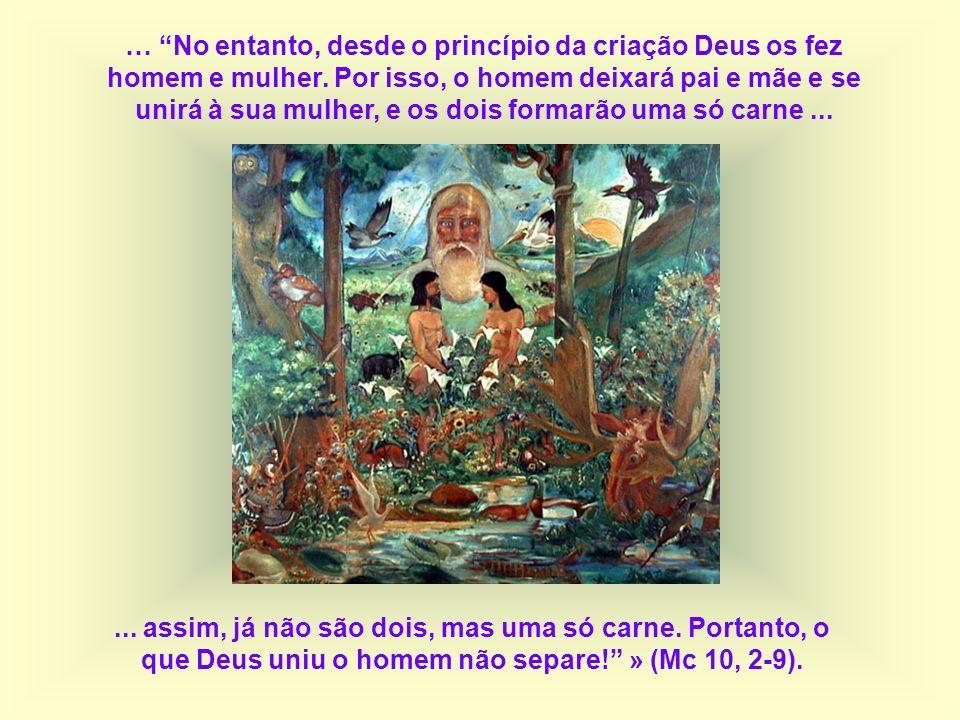 … No entanto, desde o princípio da criação Deus os fez homem e mulher
