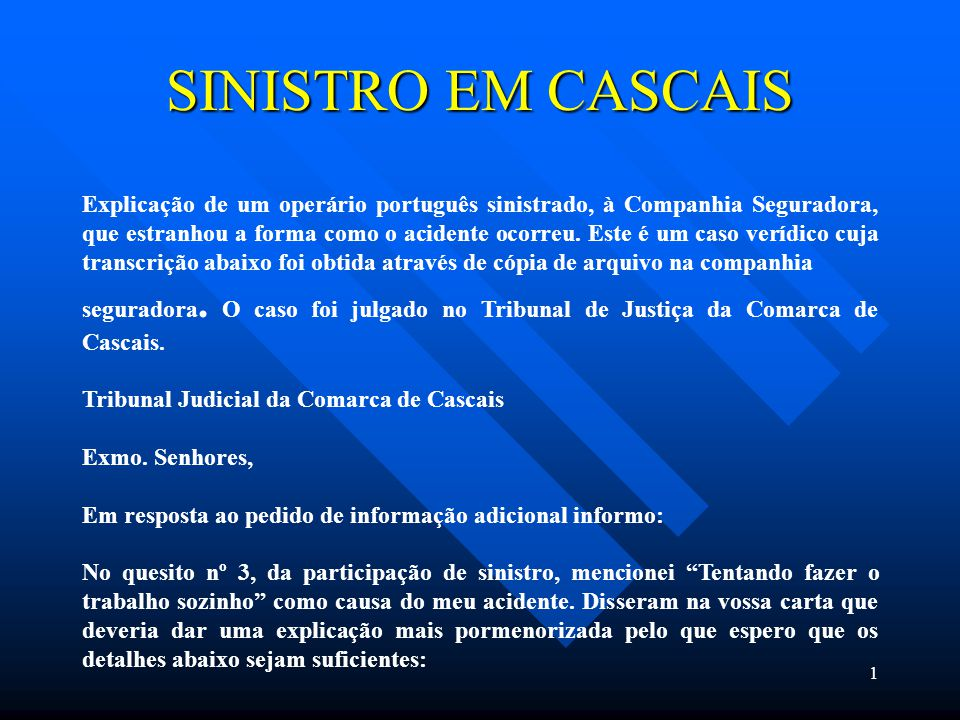 SINISTRO EM CASCAIS