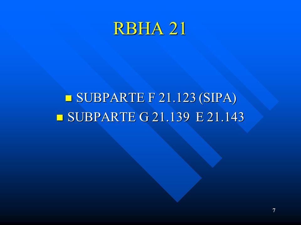 RBHA 21 SUBPARTE F 21.123 (SIPA) SUBPARTE G 21.139 E 21.143
