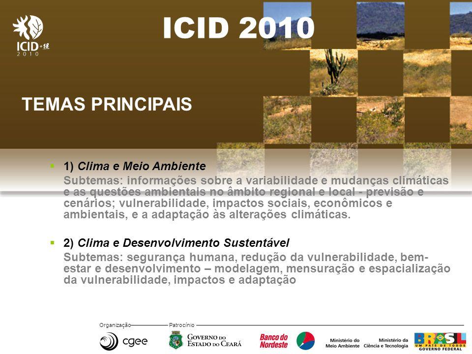 ICID 2010 TEMAS PRINCIPAIS 1) Clima e Meio Ambiente