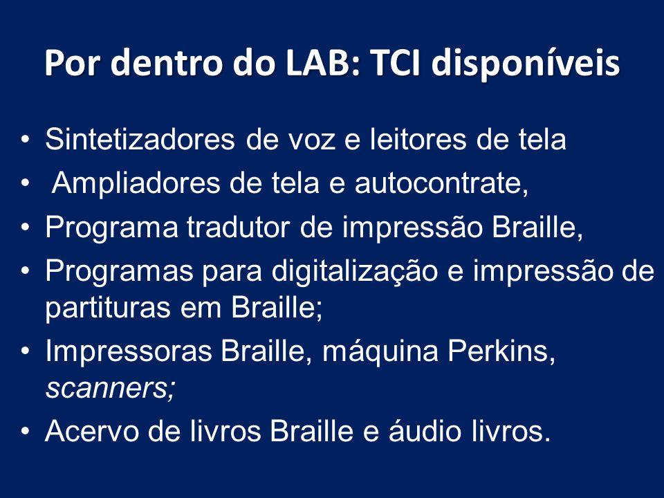 Por dentro do LAB: TCI disponíveis
