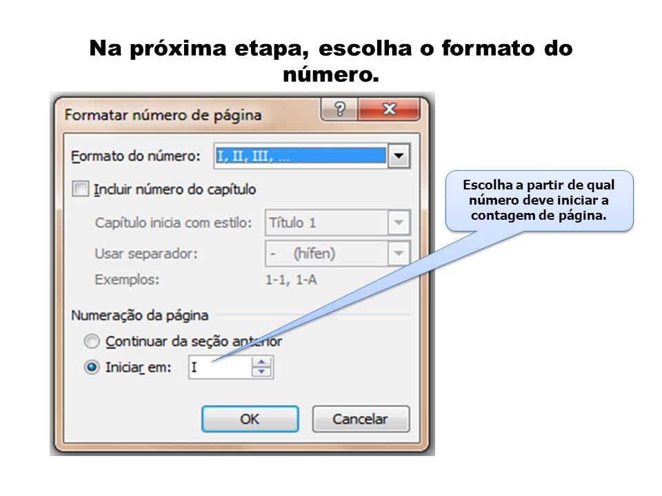 Na próxima etapa, escolha o formato do número.