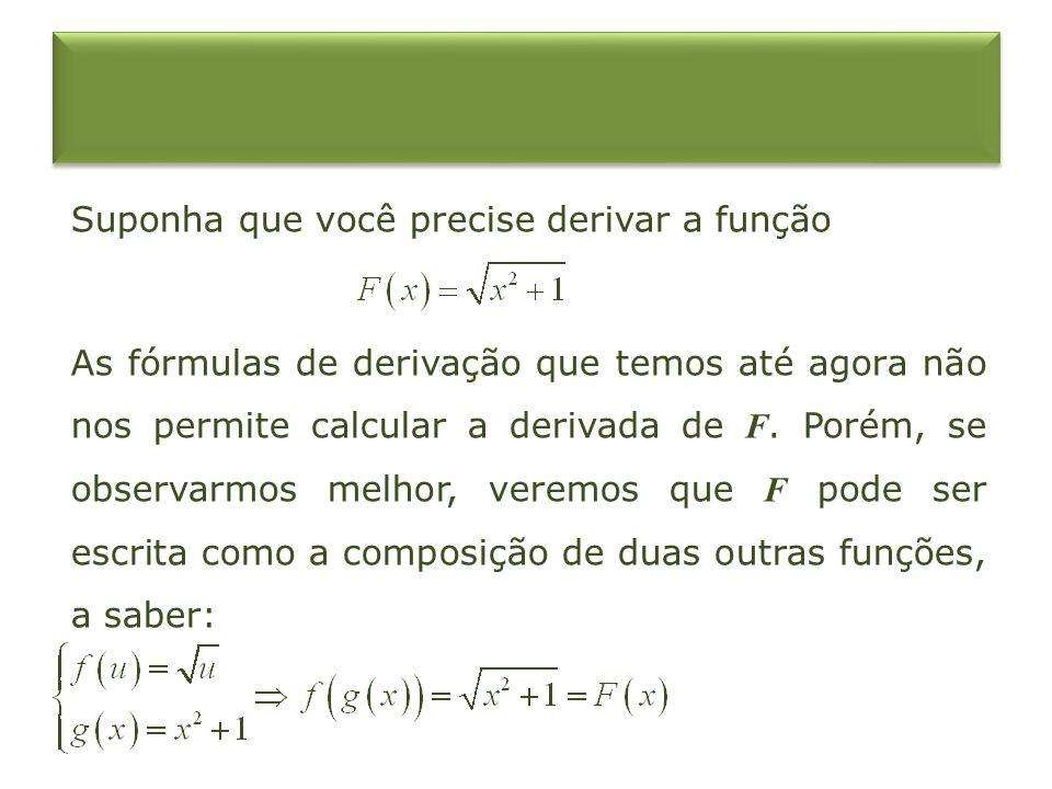 Suponha que você precise derivar a função As fórmulas de derivação que temos até agora não nos permite calcular a derivada de F.