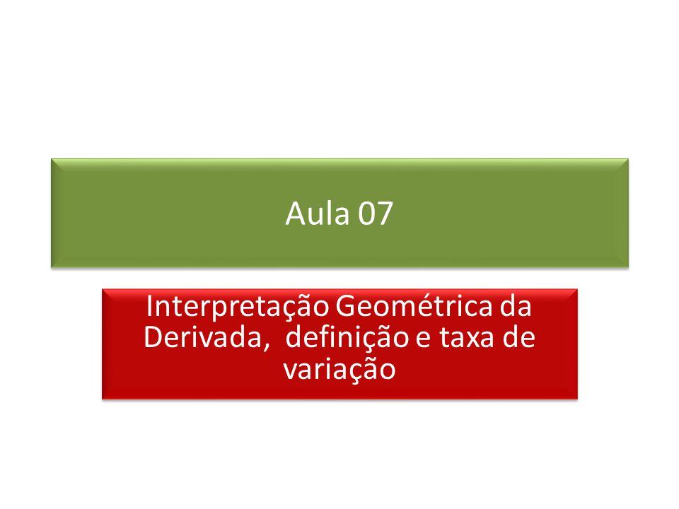 Interpretação Geométrica da Derivada, definição e taxa de variação