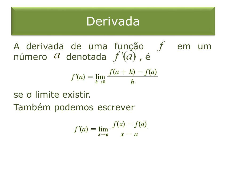 Derivada A derivada de uma função em um número denotada , é se o limite existir.