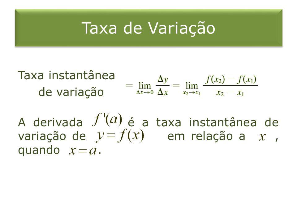 Taxa de Variação Taxa instantânea de variação A derivada é a taxa instantânea de variação de em relação a , quando .