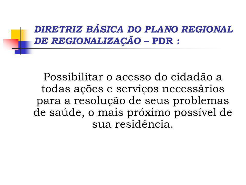 DIRETRIZ BÁSICA DO PLANO REGIONAL DE REGIONALIZAÇÃO – PDR :